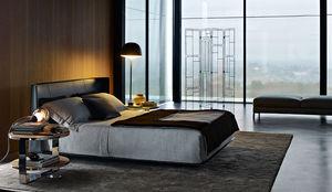 cama de matrimonio / contemporánea / con cabecero tapizado / de cuero