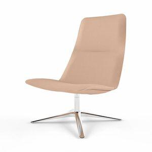 sillón bajo contemporáneo / de tejido / de cuero / de aluminio fundido
