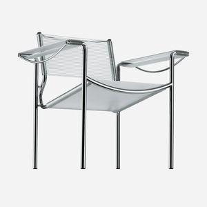 sillón contemporáneo / de cuero / de acero cromado / de PVC
