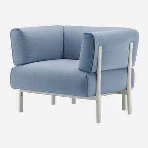 sillón contemporáneo / de tejido / de cuero / de aluminio fundido