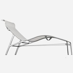 tumbona contemporánea / de aluminio fundido / de cuero / de PVC
