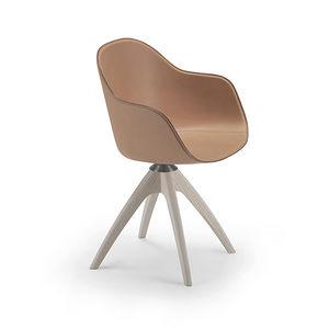 silla contemporánea / tapizada / con reposabrazos / con patas en forma de estrella