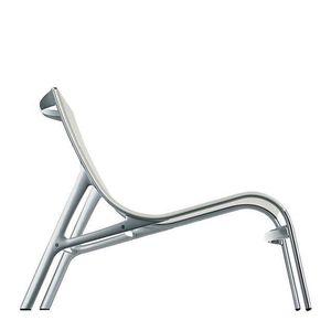 sillón bajo contemporáneo / de aluminio / de malla de poliéster / blanco