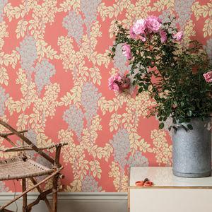 papel pintado clásico / de seda / con motivos florales / de color