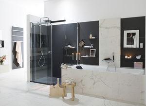baño contemporáneo / de madera lacada / de mármol