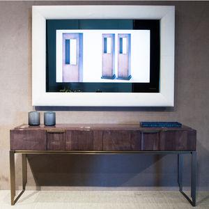 espejo televisor de pared / contemporáneo / rectangular / de madera