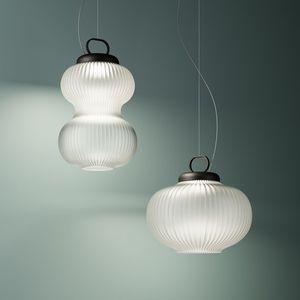 lámpara suspendida / clásica / de metal / de vidrio soplado