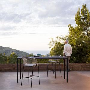 mesa alta contemporánea / de aluminio / rectangular / de exterior