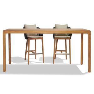 mesa alta contemporánea / de teca / de cerámica / con base de teca