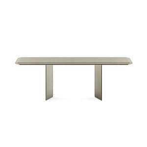 mesa contemporánea / de vidrio / con base de madera / rectangular