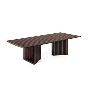 mesa contemporánea / de aluminio / con base de madera / con base de palo rosa