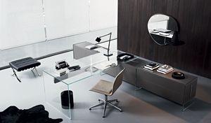 escritorio multimedia / de aluminio / de acero inoxidable / de vidrio