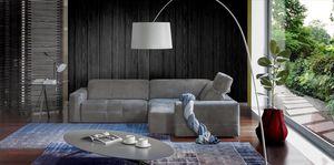 sofá de esquina / contemporáneo / de cuero / de tejido