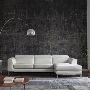 sofá de esquina / contemporáneo / de cuero / multiplaza