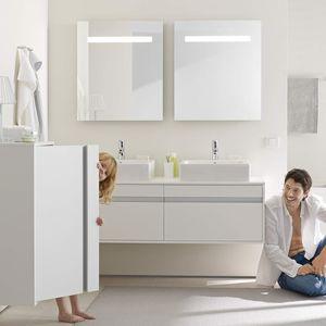 mueble de lavabo doble / suspendido / de madera / contemporáneo