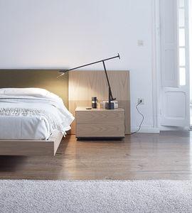 mesilla de noche contemporánea / de madera / con base de madera / rectangular