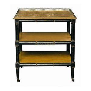 mesita auxiliar clásica / de madera / de latón / con base de madera