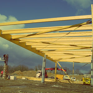 viga prefabricada / de madera laminada encolada / de madera contraencolada / rectangular