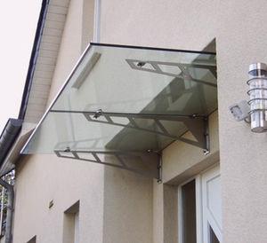 marquesina de entrada / de vidrio / de acero inoxidable / prefabricada