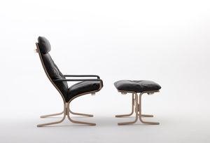 sillón contemporáneo / de cuero / con reposapiés / con reposacabezas