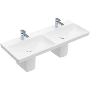 lavabo doble / suspendido / rectangular / de cerámica