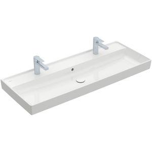 lavabo doble / encastrable / rectangular / de cerámica