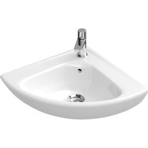 lavamanos suspendido / de esquina / de porcelana / para el sector servicios