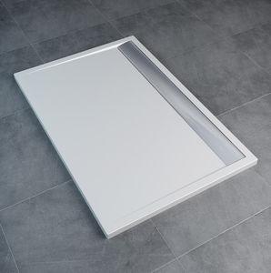 plato de ducha rectangular / independiente / de mármol / con canal
