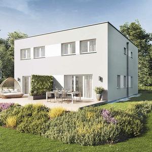 casa dúplex / contemporánea / de hormigón / ecológica