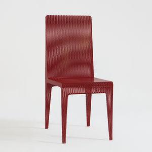 silla contemporánea / de chapa perforada / roja