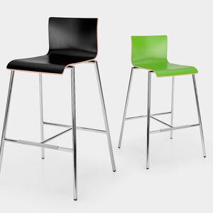 silla de bar contemporánea / con reposapiés / de madera / de acero