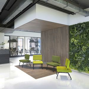 sillón bajo contemporáneo / de tejido / de acero / modular