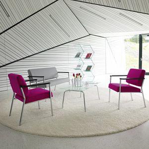 sofá contemporáneo / de tejido / de cuero / de metal