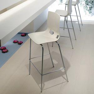 silla de bar contemporánea / con reposapiés / de acero / de plástico