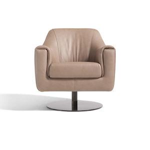 sillón contemporáneo / de cuero / de acero inoxidable / giratorio