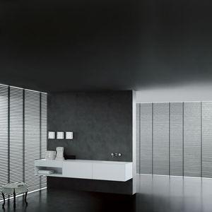 mueble de lavabo suspendido / de roble / MDF / de chapa de madera