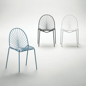 silla contemporánea / de metal / azul / verde