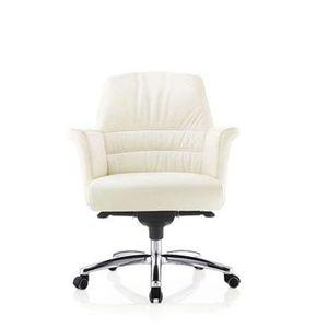 sillón de oficina contemporáneo / de cuero / con ruedas / con reposabrazos