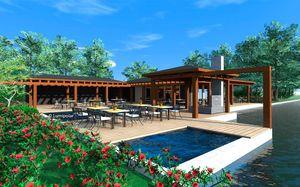 edificio prefabricado / de madera laminada encolada / para hotel / para restaurante