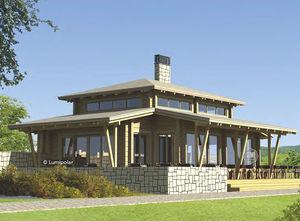 edificio prefabricado / de madera laminada encolada / para restaurante / contemporáneo