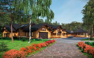 casa prefabricada / clásica / de madera laminada encolada / ecológica