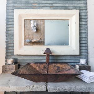 lavamanos sobre encimera / rectangular / de cobre
