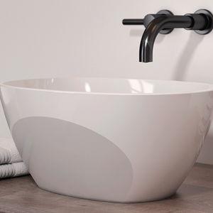 lavabo sobre encimera / ovalado / de mineral compuesto / contemporáneo