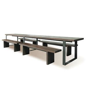 conjunto de mesa y banco contemporáneo / de madera / de metal / de interior