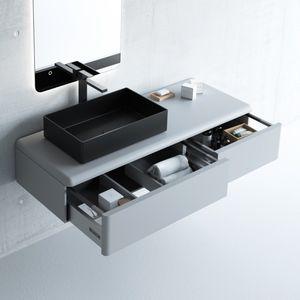 mueble de lavabo suspendido / de MDF / contemporáneo / con cajones