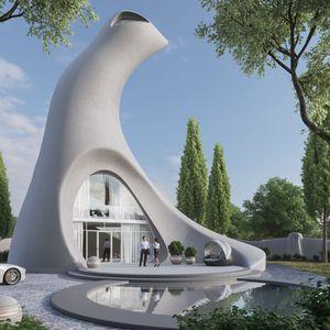 casa individual / de diseño original / de hormigón / ecológica