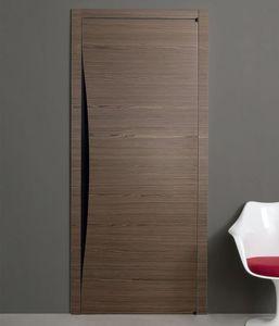 puerta de interior / pivotante con eje descentrado / de madera / a ras