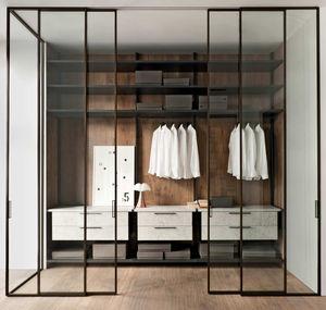 puerta para vestidor / corredera / de aluminio / suelo-techo