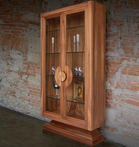 vitrina contemporánea / con pies / de vidrio / de roble