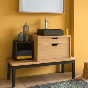mueble de lavabo de pie / de madera maciza / contemporáneo / con cajones